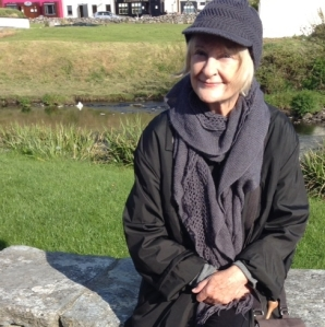 Marie in front of Aille River Hostel, Doolin