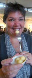 Gillian sampling Kerrygold butter at Ballymaloe, Ireland